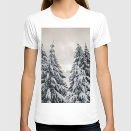 Winter Woods II - Snow Capped Forest Adventure Nature Photography T-shirt