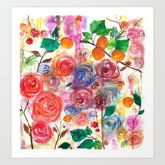 Abstract Watercolour Floral + Fruit Painting  Art Print
