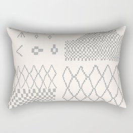 Moroccan Patchwork in Cream and Grey Rectangular Pillow