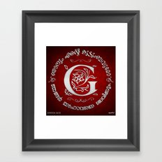 Joshua 24:15 - (Silver on Red) Monogram G Framed Art Print
