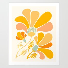 Summer Wildflowers in Golden Yellow Art Print