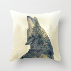 Wolf Howl - Double Exposure Throw Pillow