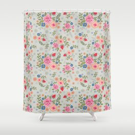 Embroidered Flowers - Light Shower Curtain