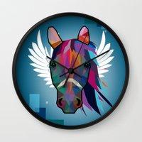 horse Wall Clocks featuring horse  by mark ashkenazi