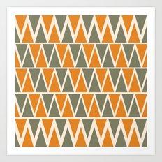Green And Orange Triangles  Art Print
