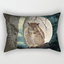 Great Horned Owl Bird Moon Tree A138 Rectangular Pillow