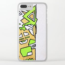Gold and Green on Silver Clear iPhone Case