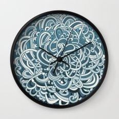 Detailed circlecorner, blue Wall Clock