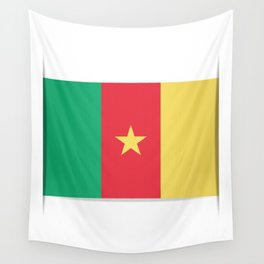 Flag of Cameroon.  The slit in the paper with shadows.  Wall Tapestry