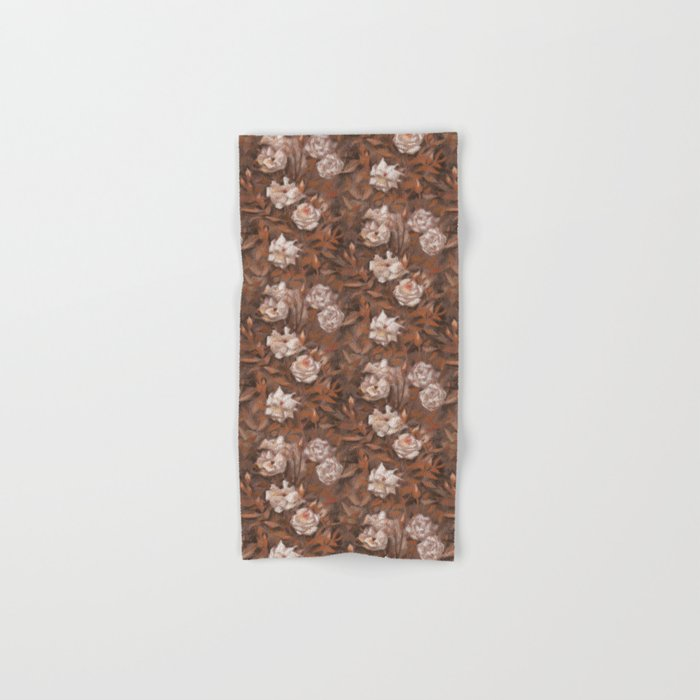 White roses in earth shades Hand & Bath Towel