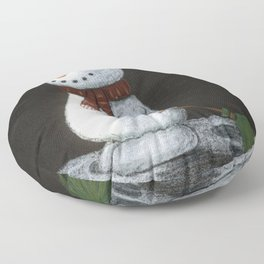 Looking at the stars snowman Floor Pillow