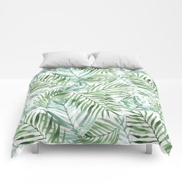 Watercolor palm leaves pattern Comforters