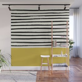 Mustard Yellow & Stripes Wall Mural