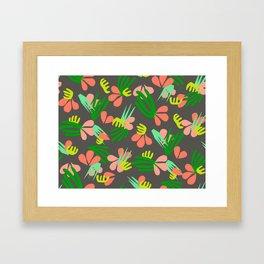 Henri's Garden in gray // tropical flora pattern Framed Art Print