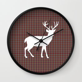 Plaid Deer Wall Clock