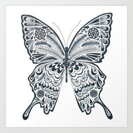 Blue Butterfly Mandala Art Print
