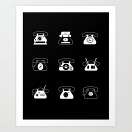 Fifties' Smartphones Black Art Print