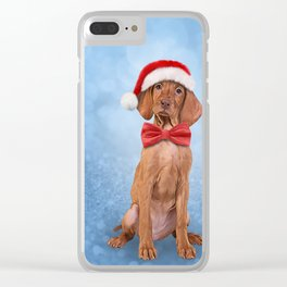 Drawing funny Vizsla pointer in red hat of Santa Claus Clear iPhone Case