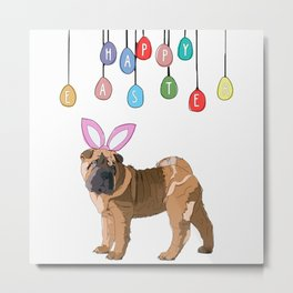 Happy Easter - Shar Pei Easter Bunny Metal Print