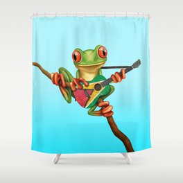 Tree Frog Playing Acoustic Guitar with Flag of Guyana Shower Curtain