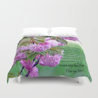poem Duvet Covers featuring Mother's Day Poem  by Frankie Cat