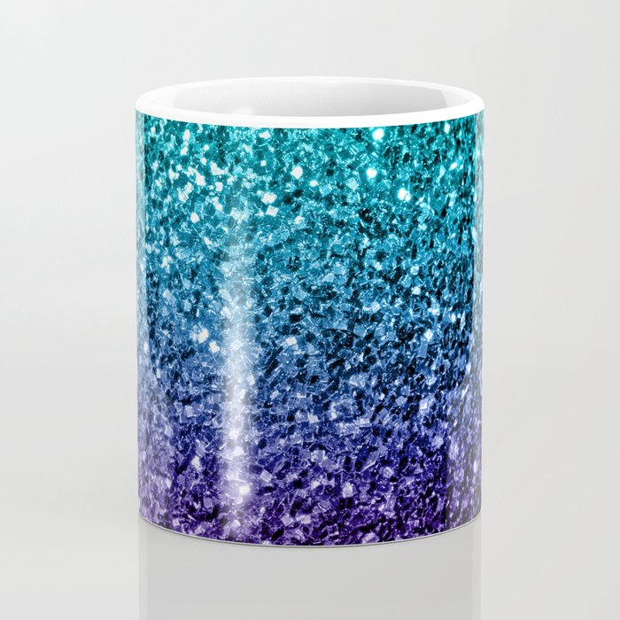 Beautiful Aqua blue Ombre glitter sparkles Coffee Mug
