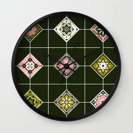 Talavera Mexican Tile – Blush & Sage Palette Wall Clock