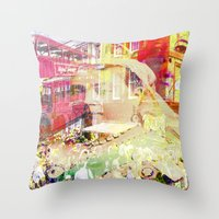 england Throw Pillows featuring Old England by Ganech joe