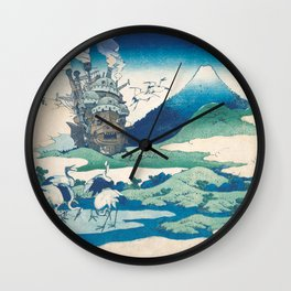 Howl's castle and japanese woodblock mashup Wall Clock