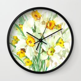 Daffodil Flowers, White spring flowers, Green yellow spring colored design Wall Clock