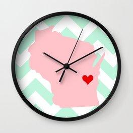 Oshkosh and Fond Du Lac, Wisconsin in Pink on Mint Chevron Wall Clock