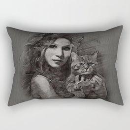 donna con gatto Rectangular Pillow