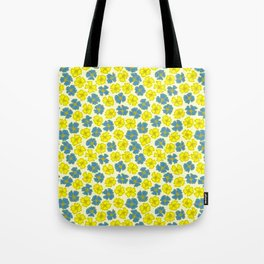 Yellow and Blue Flowers Pattern Tote Bag
