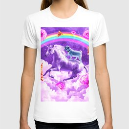 Rainbow Pug In Space Riding A Unicorn T-shirt
