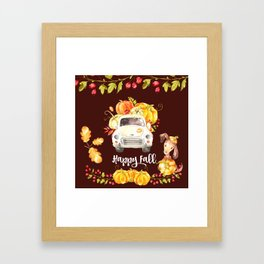 Happy Fall, Old Truck, Pumpkins, and A Dog Framed Art Print