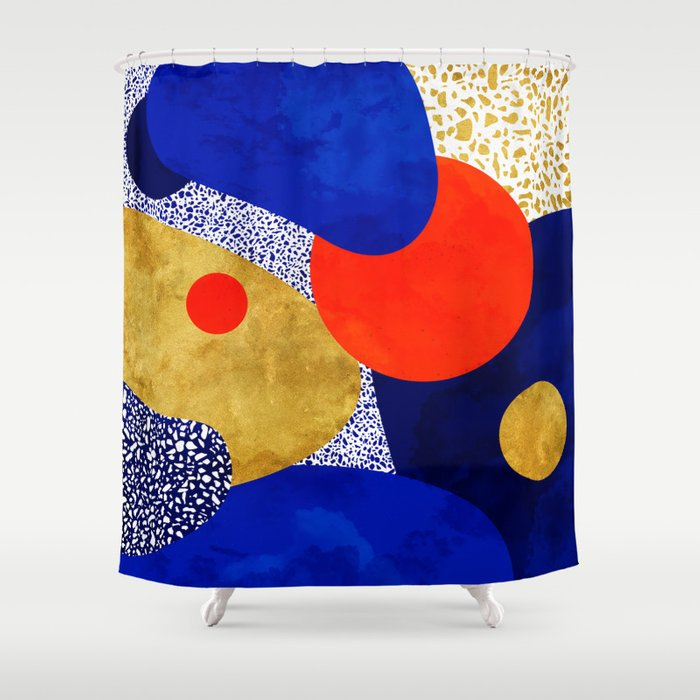 Terrazzo galaxy blue night yellow gold orange Shower Curtain