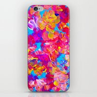 jazzberry iPhone & iPod Skins featuring FLORAL FANTASY Bold Abstract Flowers Acrylic Textural Painting Neon Pink Turquoise Feminine Art by EbiEmporium
