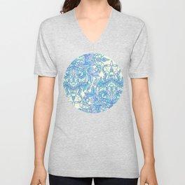 Lilac, Mint & Aqua Art Nouveau Pattern Unisex V-Neck