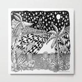 Sailboat Night at Sea - Black and White Zentangle Illustration Metal Print