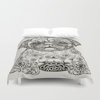 persian Duvet Covers featuring Persian Pug by Huebucket