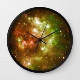 Golden Brown & Green Galaxy Nebula Wall Clock