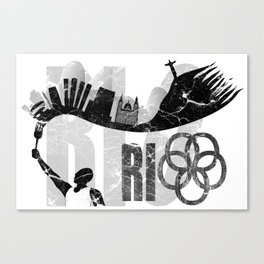 Rio de Janeiro looks like undying flame in grunge style Canvas Print