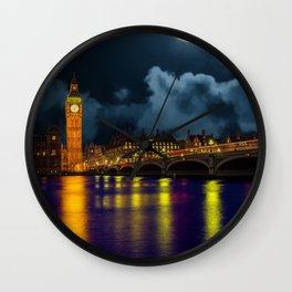 London Night Skyline Wall Clock