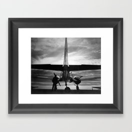Airplane at sunrise Framed Art Print