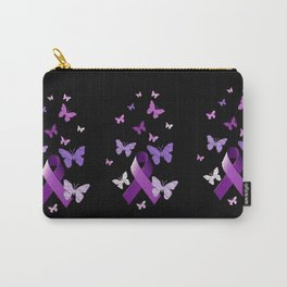 Purple Ribbon with Butterflies Carry-All Pouch