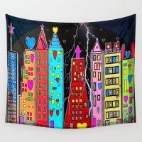 popart Wall Tapestries featuring Atlanta Skyline * Popart* by Nico Bielow by nicobielow