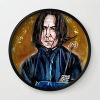 snape Wall Clocks featuring Professor Snape by dawn schreiner