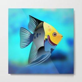 Fish Illustration On Blue Background Metal Print