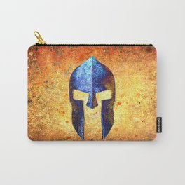 Spartan Helmet On Rust Background With A Blue Filter Effect Carry-All Pouch