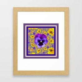 PUCE PANSIES YELLOW BUTTERFLIES & FLOWERS Framed Art Print
